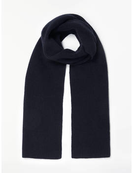 John Lewis & Partners Ribbed Cashmere Scarf, Navy by John Lewis & Partners