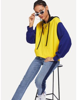 Pocket Front Colorblock Hoodie by Shein