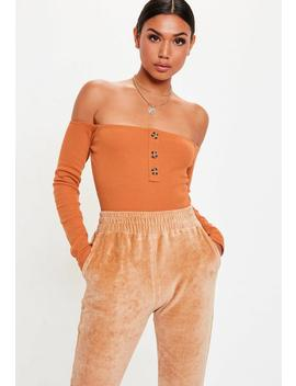 Rust Bardot Horn Button Bodysuit by Missguided