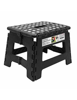 Folding Step Stool, Super Strong Plastic 9 Inch Step Stool For Kids And Adults With Handles, Black by Heim & Elda
