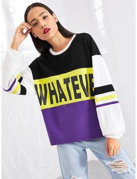 Letter Print Drop Shoulder Sweatshirt by Shein