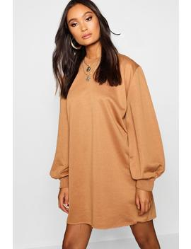 Balloon Sleeve Oversized Sweatshirt Dress by Boohoo