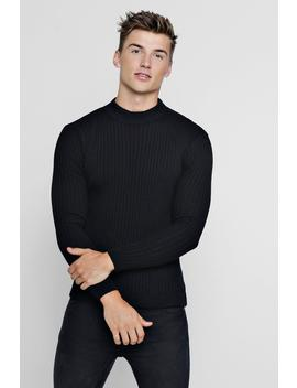 Muscle Fit Ribbed Turtle Neck Jumper by Boohoo