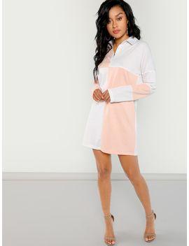 Cut And Sew Polo Dress by Shein