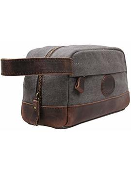 Msg Vintage Leather Canvas Travel Toiletry Bag Shaving Dopp Kit #A001 (Grey) by My Style Garment