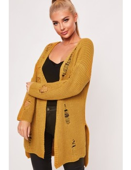 Layla Mustard Distressed Knitted Cardigan by Misspap