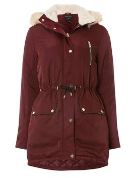 Burgundy Faux Fur Parka Coat by Dorothy Perkins