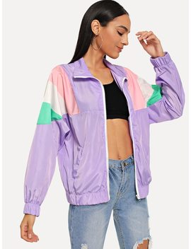Cut And Sew Panel Jacket by Sheinside