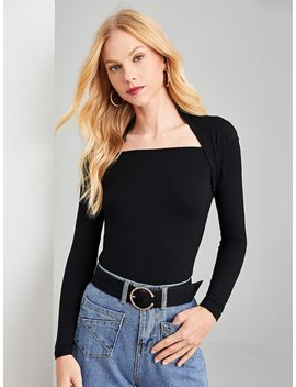 Square Neck Solid Tee by Shein