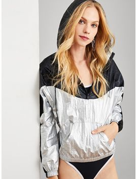 Cut And Sew Zipper Sweatshirt by Shein