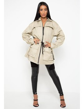 Military Cargo Jacket Dress   Beige by Maniere De Voir
