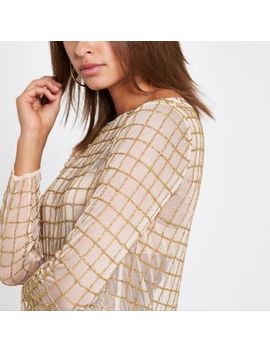 Gold Diamante Long Sleeve Top by River Island