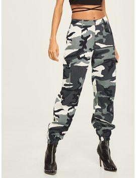 Flap Pocket Side Cami Utility Pants by Shein