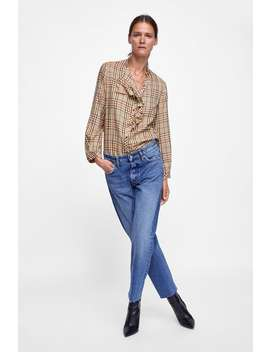 Checked Blouse With Ruffle Trims  Blouses Shirts by Zara