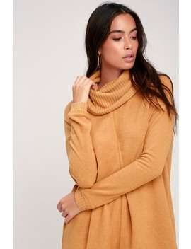 Autumn Daze Camel Cowl Neck Long Sleeve Sweater Dress by Lulus