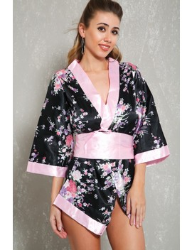 Sexy Black Floral Print Three Piece Intimates Robe Set by Ami Clubwear