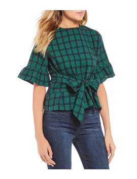 Tie Front Bow Plaid Top by Good Luck Gem
