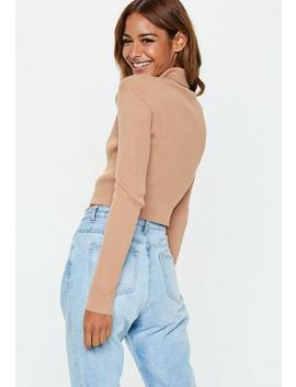 Camel Basic Roll Neck Crop Knitted Jumper by Missguided