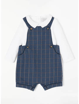 John Lewis & Partners Heirloom Collection Baby Check Bibshort, Navy by John Lewis & Partners Heirloom Collection