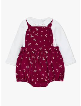 John Lewis & Partners Heirloom Collection Baby Cord Floral Romper And Body Set, Red by John Lewis & Partners Heirloom Collection