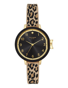 Women's Park Row Leopard Print Silicone Strap 34mm by Kate Spade New York