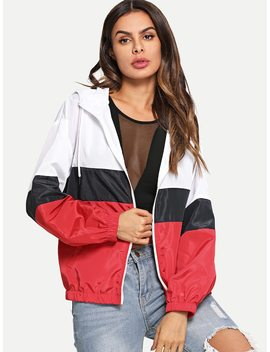 Cut And Sew Zip Up Hoodie Jacket by Shein