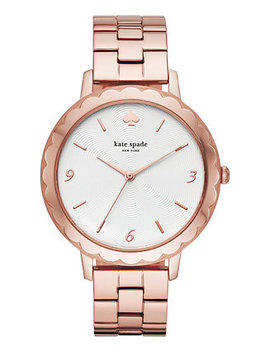 Women's Metro Scallop Pink Gold Tone Stainless Steel Bracelet Watch 38mm by Kate Spade New York