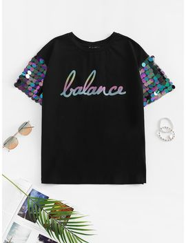 Sequin Detail Mesh Sleeve Letter Tee by Shein