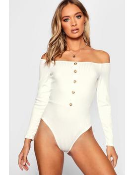 Bardot Rib Horn Button Long Sleeve Bodysuit by Boohoo