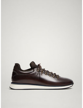 Limited Edition Brown Leather Sneakers by Massimo Dutti