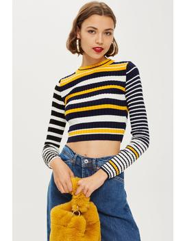 Stripe Cropped Jumper by Topshop