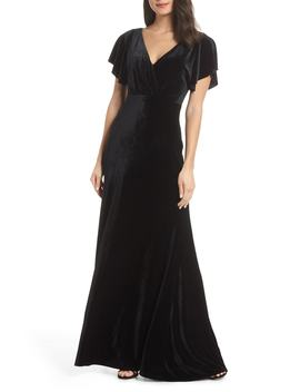 Ellis Flutter Sleeve Stretch Velvet Gown by Jenny Yoo