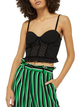 Dobby Spotted Bralet Cami by Topshop