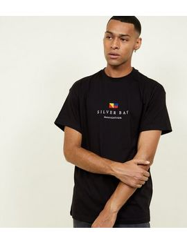 Black Silver Bay Embroidered T Shirt by New Look