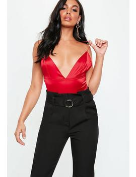 Red Basic V Neck Satin Strappy Bodysuit by Missguided
