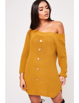 Khloe Mustard Button Bardot Jumper Dress by Misspap