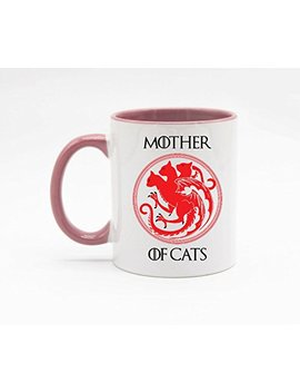11 Ounce Mother's Day Mug   Mother Of Cats Coffee Mug Or Tea Cup White+Pink by Amazon