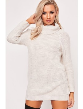 Shelby Beige Roll Neck Jumper Dress by Misspap