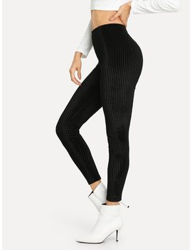 High Waist Solid Velvet Leggings by Shein