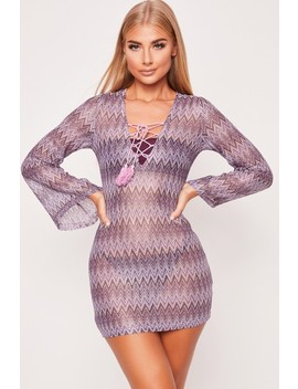 Lizzy Lilac Lace Up Beach Dress by Misspap