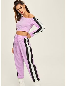 Cut And Sew Crop Top & Sweatpants Set by Shein
