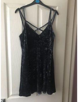 Urban Outfitters Navy Velvet Skater Dress (Size M) by Ebay Seller