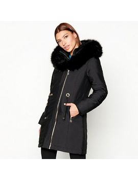 Star By Julien Macdonald   Black Coated Fur Hood Parka by Star By Julien Macdonald