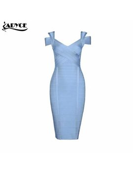 2018 New Summer Dress Women Party Dress Sexy Khaki Light Blue Dark Blue Elegant Off The Shoulder Celebrity Runway Bodycon Dress by Adyce