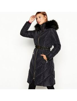 Star By Julien Macdonald   Black Faux Fur Belted Padded Coat by Star By Julien Macdonald