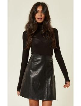 Black Pu Leatherette Mini Skirt by Missi London
