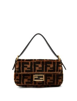 Baguette Logo Print Shearling Shoulder Bag by Fendi