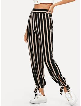 Tie Detail Stripe Pants by Sheinside