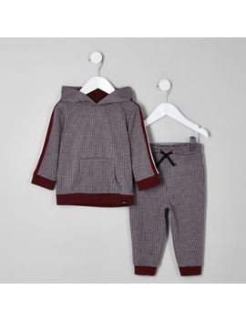 Mini Boys Red Check Print Hoodie Outfit by River Island