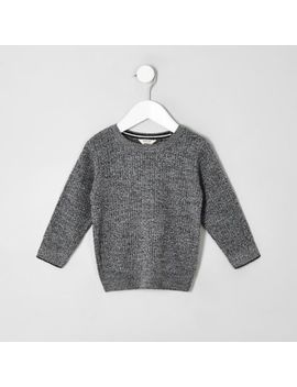 Mini Boys Grey Knitted Jumper by River Island